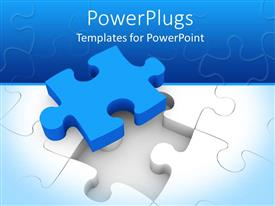 PowerPlugs: PowerPoint template with blue puzzle piece on top of white jigsaw puzzle