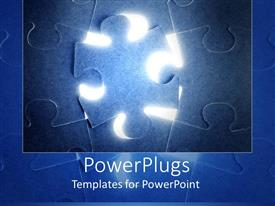 PowerPoint template displaying blue puzzle with puzzle piece not in its place, with light in back of puzzle piece