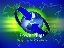 PowerPlugs: PowerPoint template with blue recycle symbol circling blue earth globe with world map in background