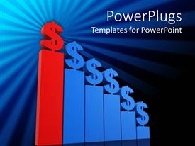 PowerPoint template displaying a blue and red colored dollar bar chart on a black and blue background