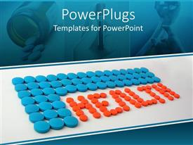 PowerPoint template displaying blue and red pills spelling health