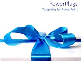 PowerPlugs: PowerPoint template with blue ribbon present gift on white background