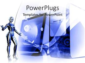 PowerPoint template displaying blue robot showing off technology products on white background
