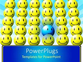 PowerPlugs: PowerPoint template with blue sad face in sea of yellow happy faces