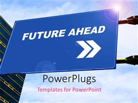 PowerPlugs: PowerPoint template with blue signboard with directions to FUTURE against cloudy sky