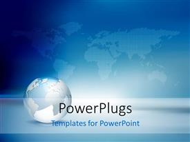 PowerPlugs: PowerPoint template with blue and silver globe in front of world map