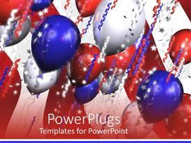 PowerPlugs: PowerPoint template with blue, silver, and red colored balloons with colorful ribbons