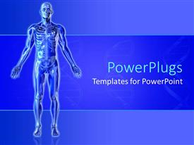 PowerPlugs: PowerPoint template with blue skeleton with arms outstretched blue background