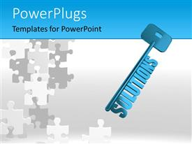PowerPlugs: PowerPoint template with blue skeleton solutions key over white surface with jigsaw puzzle