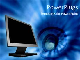 PowerPoint template displaying blue smoky background with computer monitor and large email symbol