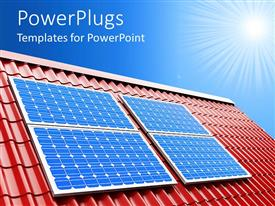 PowerPlugs: PowerPoint template with blue solar panels on red roof on a sunny light blue sky background