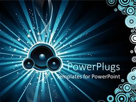 PowerPlugs: PowerPoint template with blue speakers in blue background with white stars and circles
