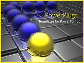 PowerPlugs: PowerPoint template with blue spheres and yellow glossy sphere in front of line on metallic gray surface