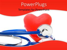 PowerPlugs: PowerPoint template with blue stethoscope with red heart shape on white surface