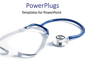 PowerPlugs: PowerPoint template with blue stethoscope with shadow on plain white background