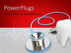 PowerPlugs: PowerPoint template with blue stethoscope with a tooth over a medical background in red and white