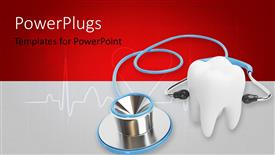PowerPoint template displaying blue stethoscope with a tooth over a medical background in red and white