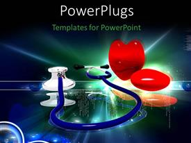 PowerPlugs: PowerPoint template with a blue stethoscope with two shinning hearts and shinning light