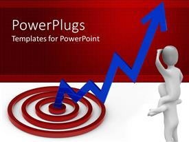 PowerPlugs: PowerPoint template with blue stock market line rising from red target with two people watching