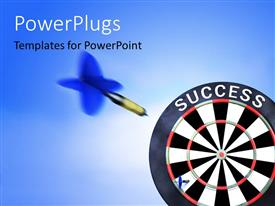 PowerPoint template displaying blue tailed dart flying towards bulls eye of SUCCESS target