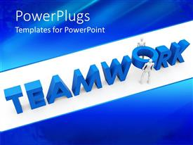 PowerPoint template displaying blue teamwork word and two figures trying to place o letter in its place