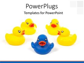PowerPoint template displaying blue toy duck leading others in yellow over white background