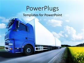 PowerPlugs: PowerPoint template with blue truck running on country road, a truck transport concept