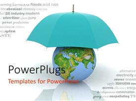PowerPlugs: PowerPoint template with a blue umbrella protecting the earth
