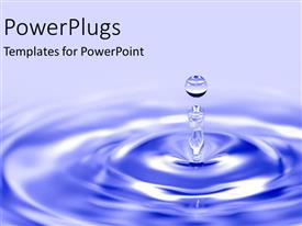 PowerPlugs: PowerPoint template with blue water drop into pond as a metaphor for cause and ripple effect on blue background