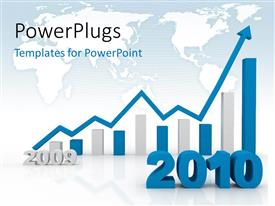 PowerPlugs: PowerPoint template with blue and white 3D bar charts with year 2010 over world map