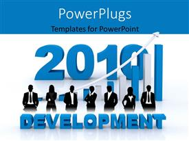 PowerPlugs: PowerPoint template with blue and white bar chart with 3D text DEVELOPMENT and business people
