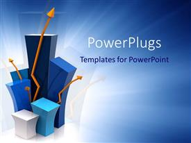 PowerPlugs: PowerPoint template with blue and white bar chart blocks with orange arrows