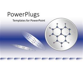 PowerPoint template displaying blue and white chemistry, physics science background with molecule diagrams