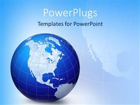 PowerPlugs: PowerPoint template with a blue and white colored earth globe on a blue background