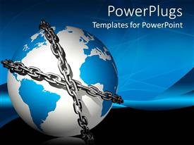 PowerPlugs: PowerPoint template with blue and white colored earth globe bound in chains