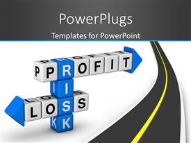 PowerPlugs: PowerPoint template with blue and white crossword puzzle series with risk, profit and loss as keywords with road