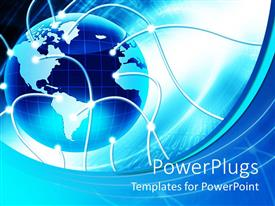 PowerPlugs: PowerPoint template with blue and white earth globe with connecting wires connected
