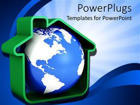 PowerPoint template displaying blue and white earth globe in green house
