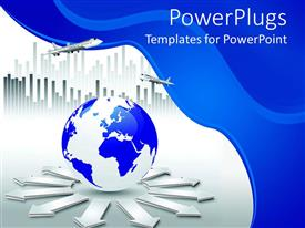 PowerPoint template displaying blue and white earth globe on a white and blue background