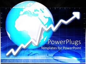 PowerPlugs: PowerPoint template with blue and white globe behind upward pointing white arrow