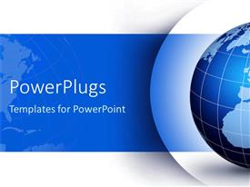 PowerPlugs: PowerPoint template with blue and white globe with lines of latitude and longitude on blue and white background