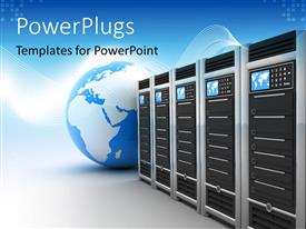 Colorful PPT theme having blue and white globe next to row of servers