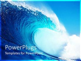 PowerPoint template displaying blue and white tidal wave with spray, surfing, ocean, sea, surf