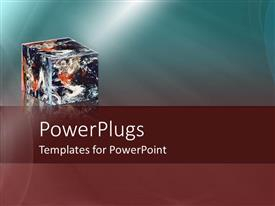 PowerPlugs: PowerPoint template with a blue and wine colored background with a multicoloured box