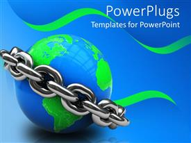 PowerPoint template displaying blue world globe with metallic chain around it in blue background