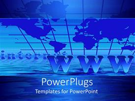 PowerPoint template displaying blue world map background with Internet and WWW text