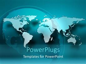 PowerPlugs: PowerPoint template with blue world map in front of globe