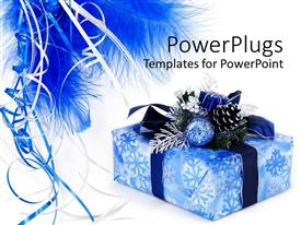 PowerPlugs: PowerPoint template with blue wrapped gift box with ornaments, ribbons and feathers