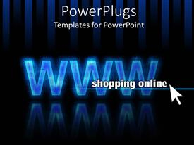 PowerPlugs: PowerPoint template with blue WWW on black striped background with white cursor pointing to shopping online