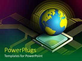 PowerPlugs: PowerPoint template with blue and yellow globe on computer processor with lines depicting technology theme